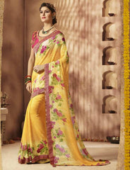 Yellow Color Georgette Festive Wear Sarees : Sunaira Collection  YF-49855