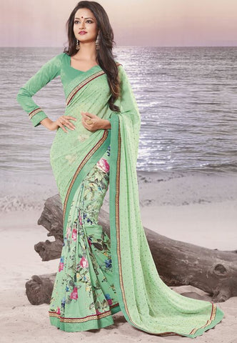 pastel green Color Half shimmer georgette  foil  and Half georgette Elegant Sarees : Daksha Collection  YF-43734
