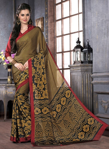 Mustard Yellow & Black Color Crepe Casual Party Sarees : Anudita Collection  YF-47979