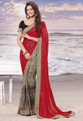 Red Color wrinkle Chiffon Elegant Sarees : Daksha Collection  YF-43738
