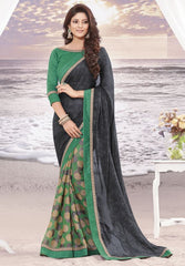 green and Black Color wrinkle Chiffon Elegant Sarees : Daksha Collection  YF-43739