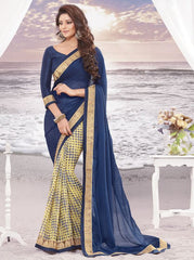 Blue and yellow Color wrinkle Chiffon Elegant Sarees : Daksha Collection  YF-43743