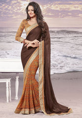 Brown and Orange Color wrinkle Chiffon Elegant Sarees : Daksha Collection  YF-43744