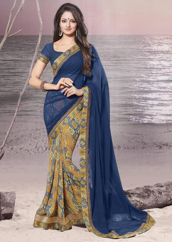 Blue and mustard yellow Color wrinkle Chiffon Elegant Sarees : Daksha Collection  YF-43746