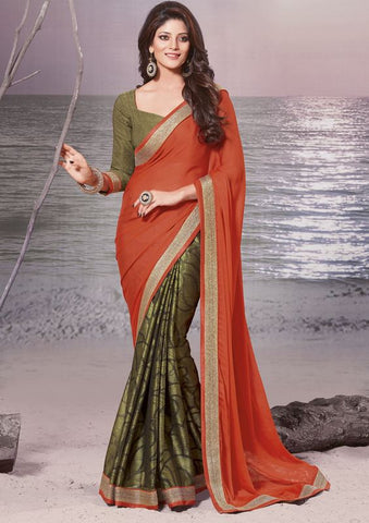Orange and mehendi green Color Half brasso and Half wrinkle Chiffon Elegant Sarees : Daksha Collection  YF-43747