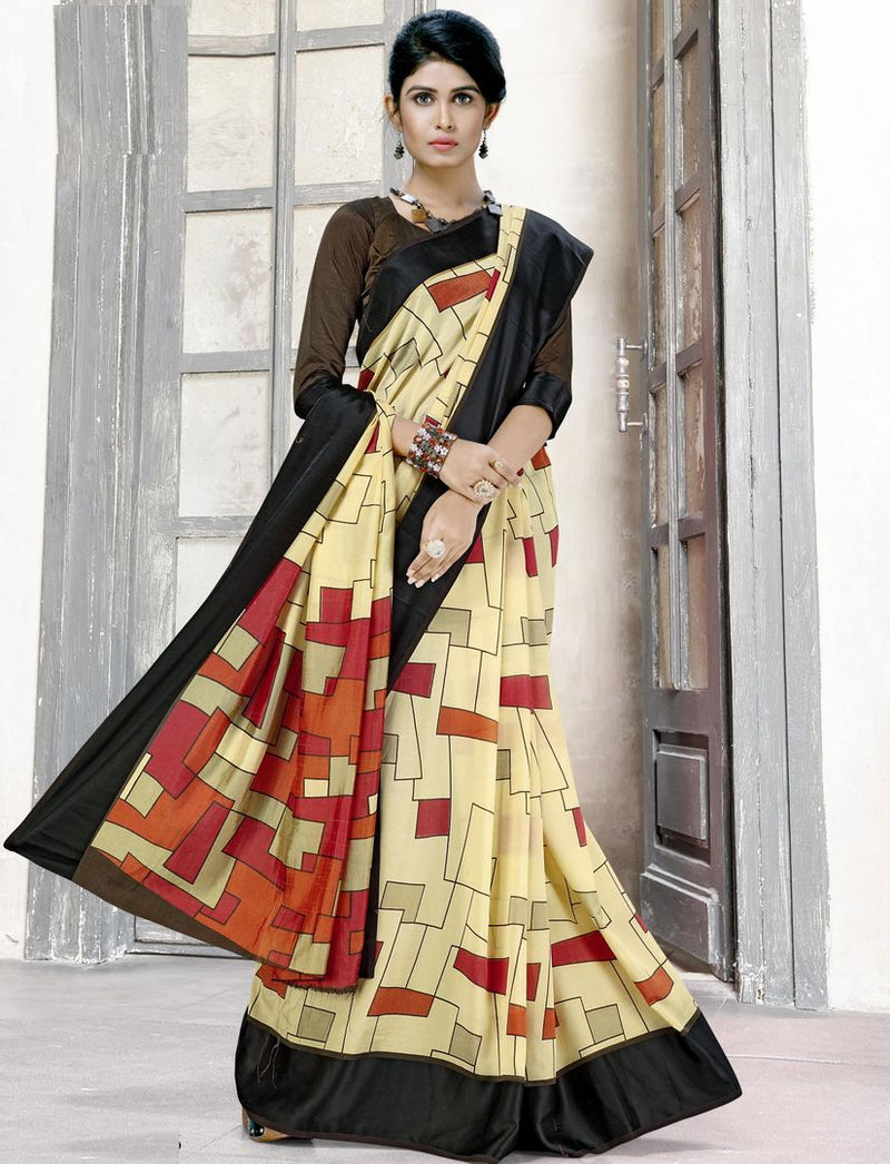 Light Yellow Color Raw Silk Digital Print Sarees NYF-3918 - YellowFashion.in