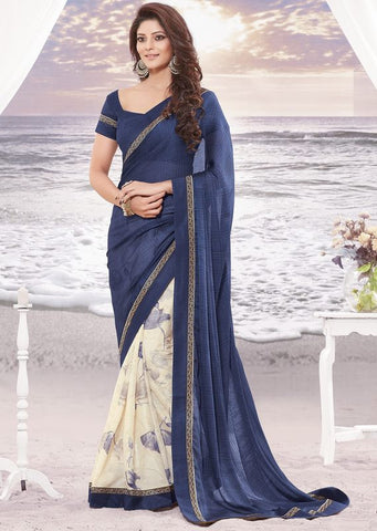 Cream and Blue Color Wrinkle chiffon Elegant Sarees : Daksha Collection  YF-43749