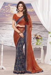 Mustard Orange and blue Color Half georgette and Half wrinkle chiffon Elegant Sarees : Daksha Collection  YF-43751