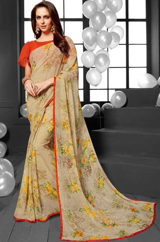 Pastel Green Color Georgette Casual Sarees : Mandrika Collection  YF-43634
