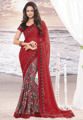 Red and grey Color wrinkle chiffon Elegant Sarees : Daksha Collection  YF-43753