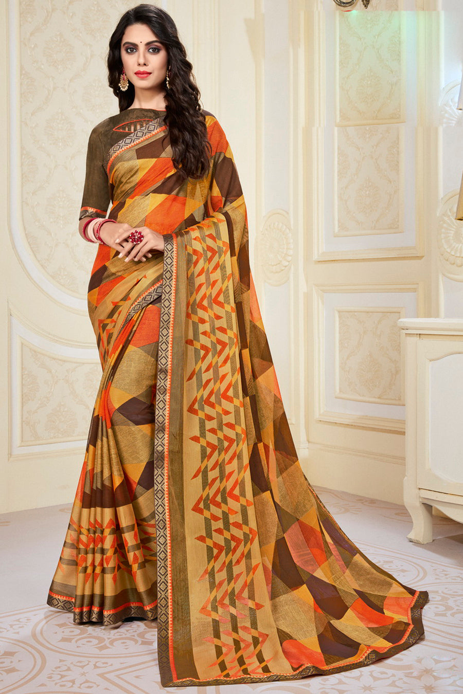 Yellow & Brown Color Chiffon Brasso Radiant Party Wear Sarees NYF-9501