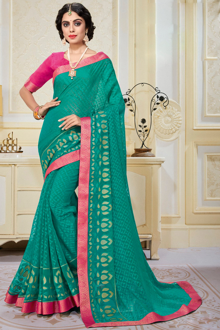 Firozi Color Chiffon Brasso Radiant Party Wear Sarees NYF-9502