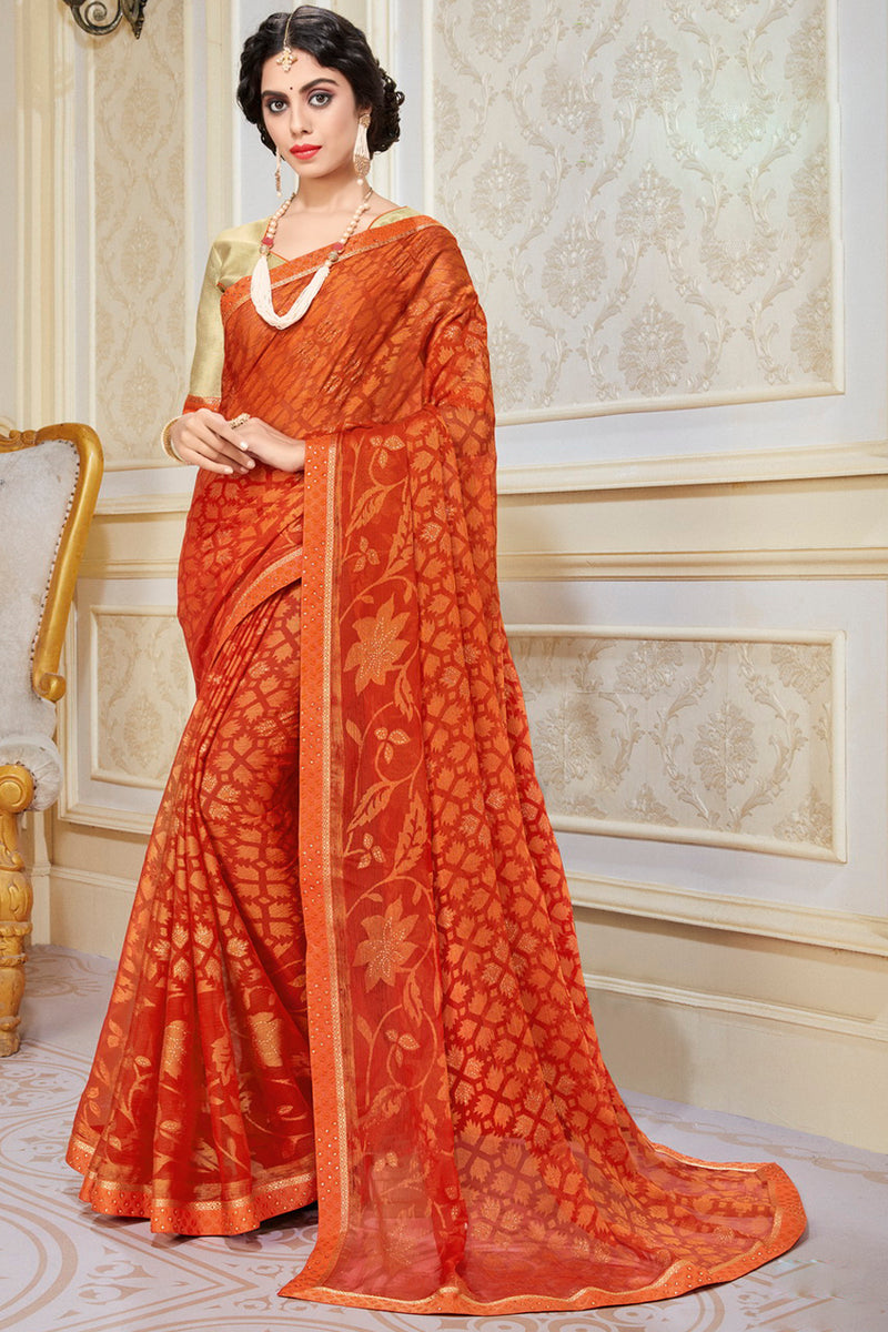 Orange Color Chiffon Brasso Radiant Party Wear Sarees NYF-9503