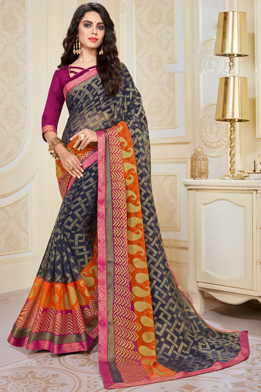 Blue Color Chiffon Brasso Radiant Party Wear Sarees NYF-9504