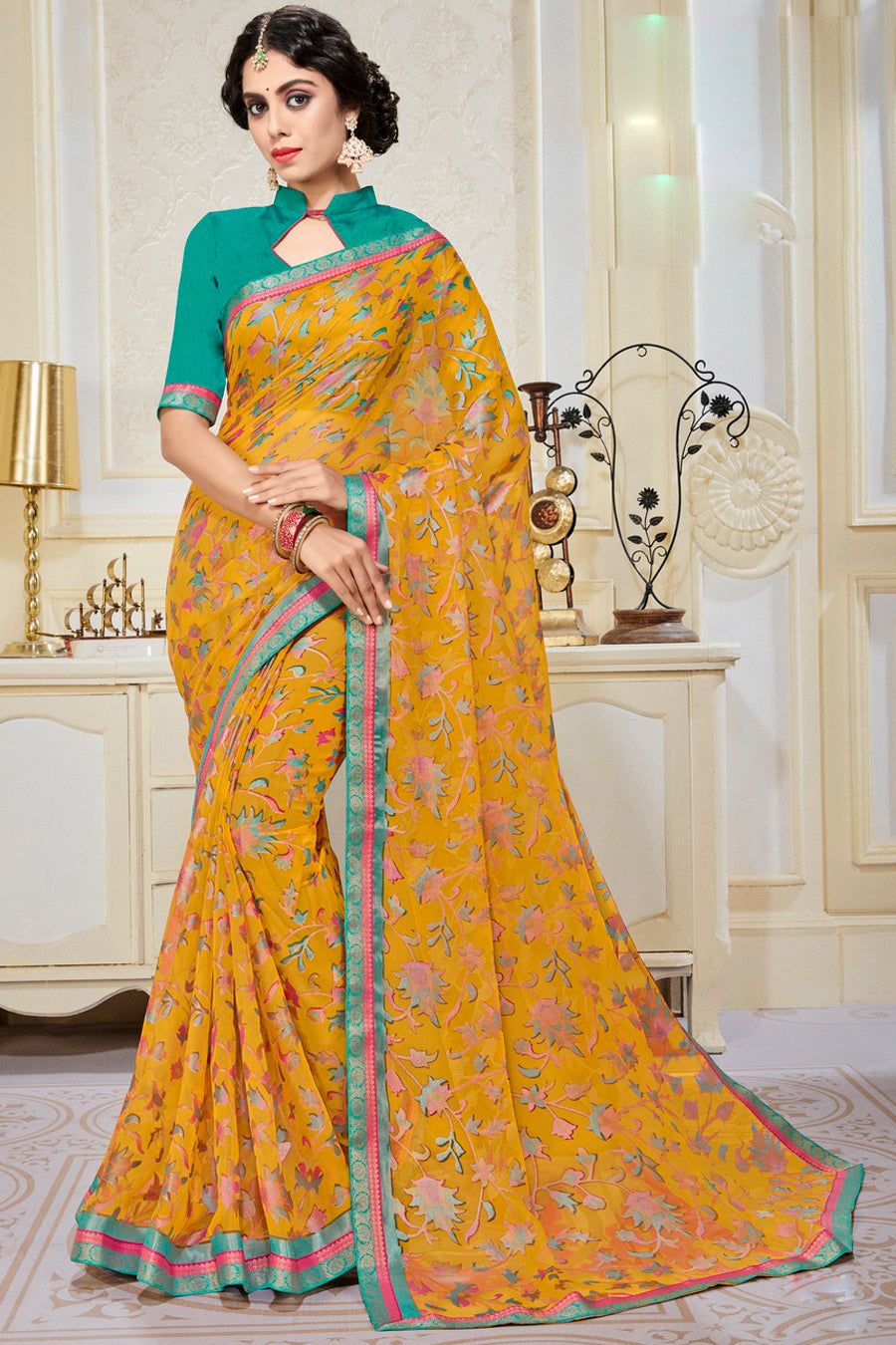 Yellow Color Chiffon Brasso Radiant Party Wear Sarees NYF-9505
