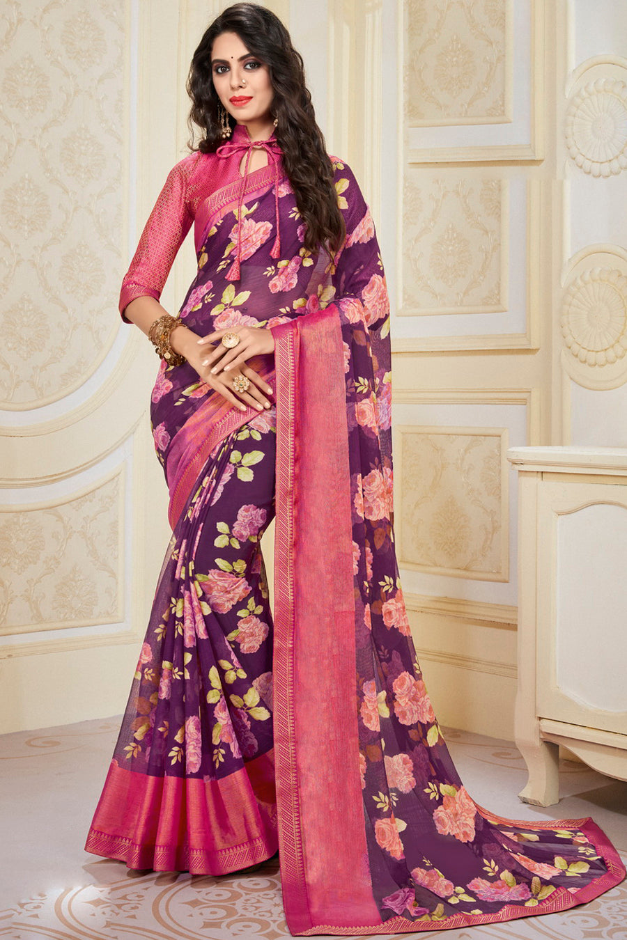 Purple Color Chiffon Brasso Radiant Party Wear Sarees NYF-9506