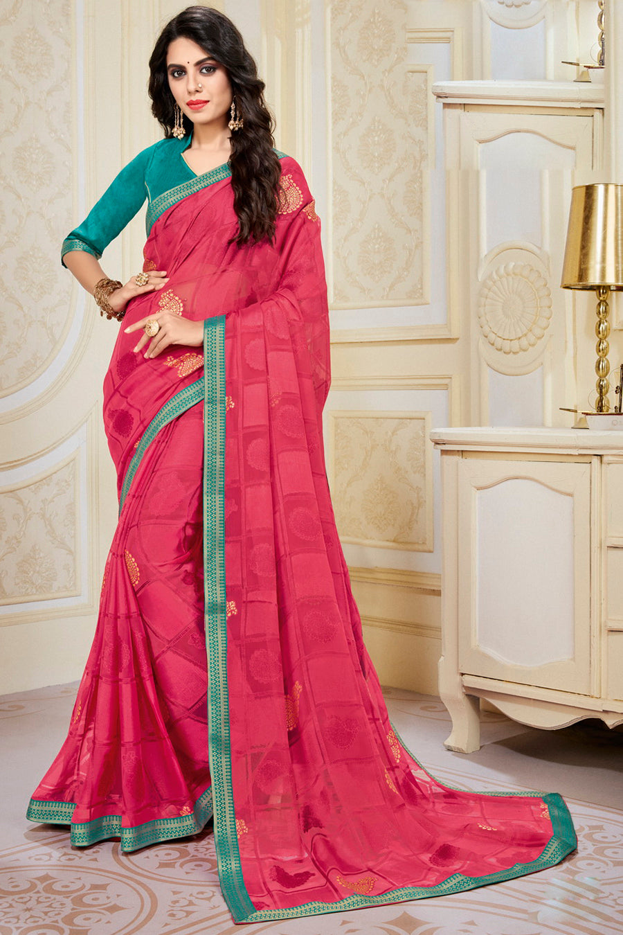 Pink Color Chiffon Brasso Radiant Party Wear Sarees NYF-9507