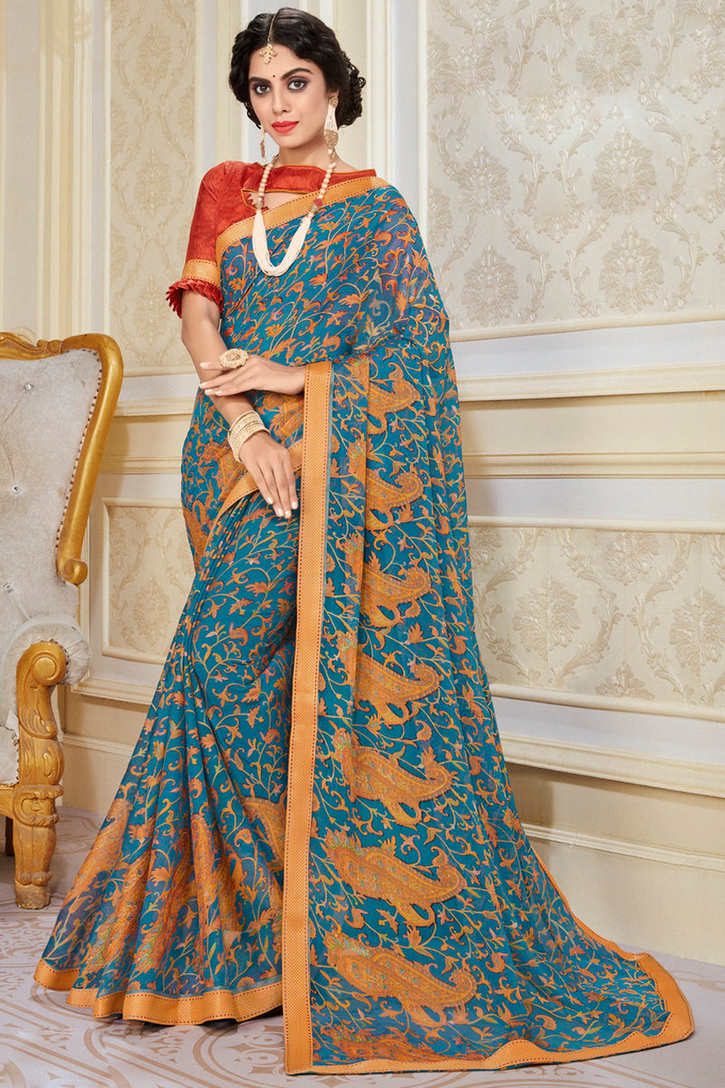 Blue Color Chiffon Brasso Radiant Party Wear Sarees NYF-9508