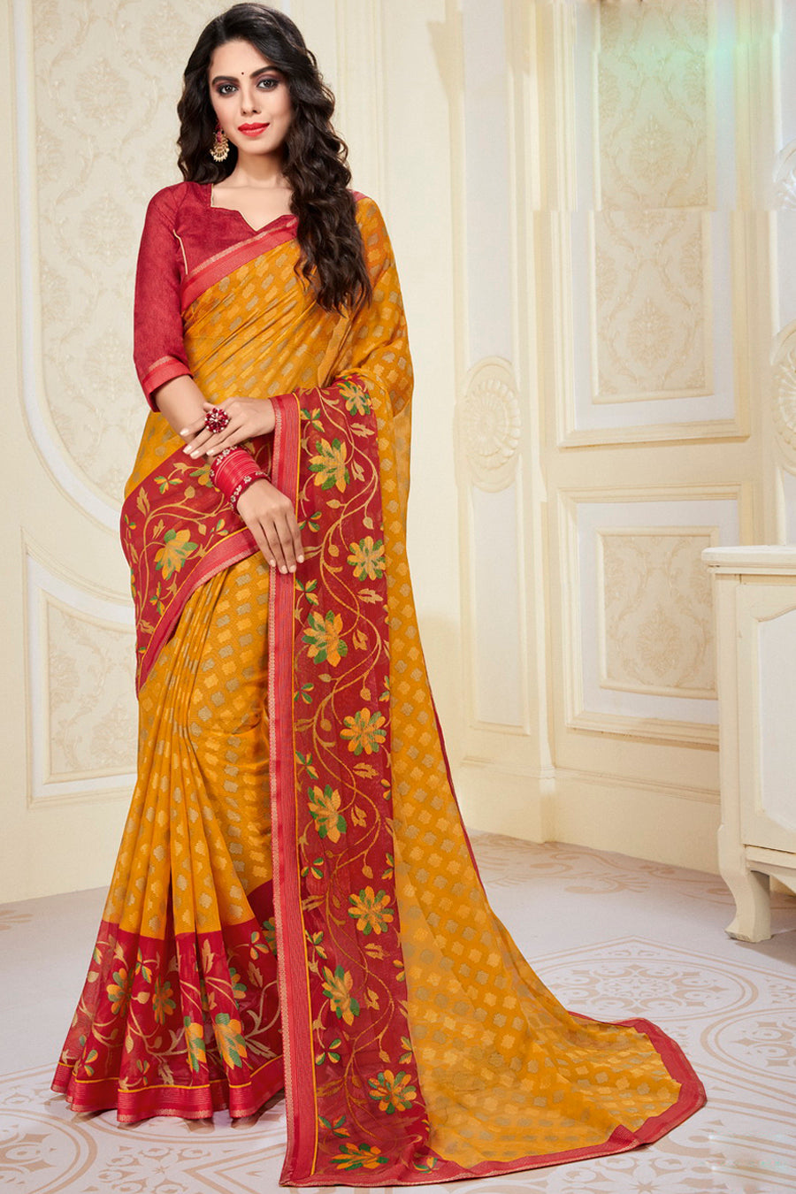 Yellow Color Chiffon Brasso Radiant Party Wear Sarees NYF-9509