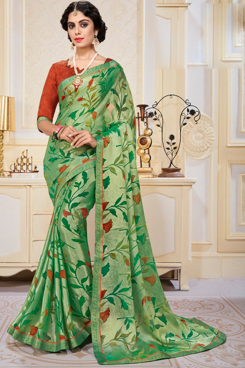Green Color Chiffon Brasso Radiant Party Wear Sarees NYF-9510