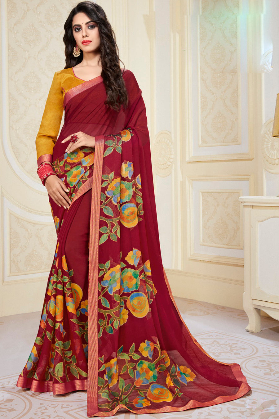 Maroon Color Chiffon Brasso Radiant Party Wear Sarees NYF-9511