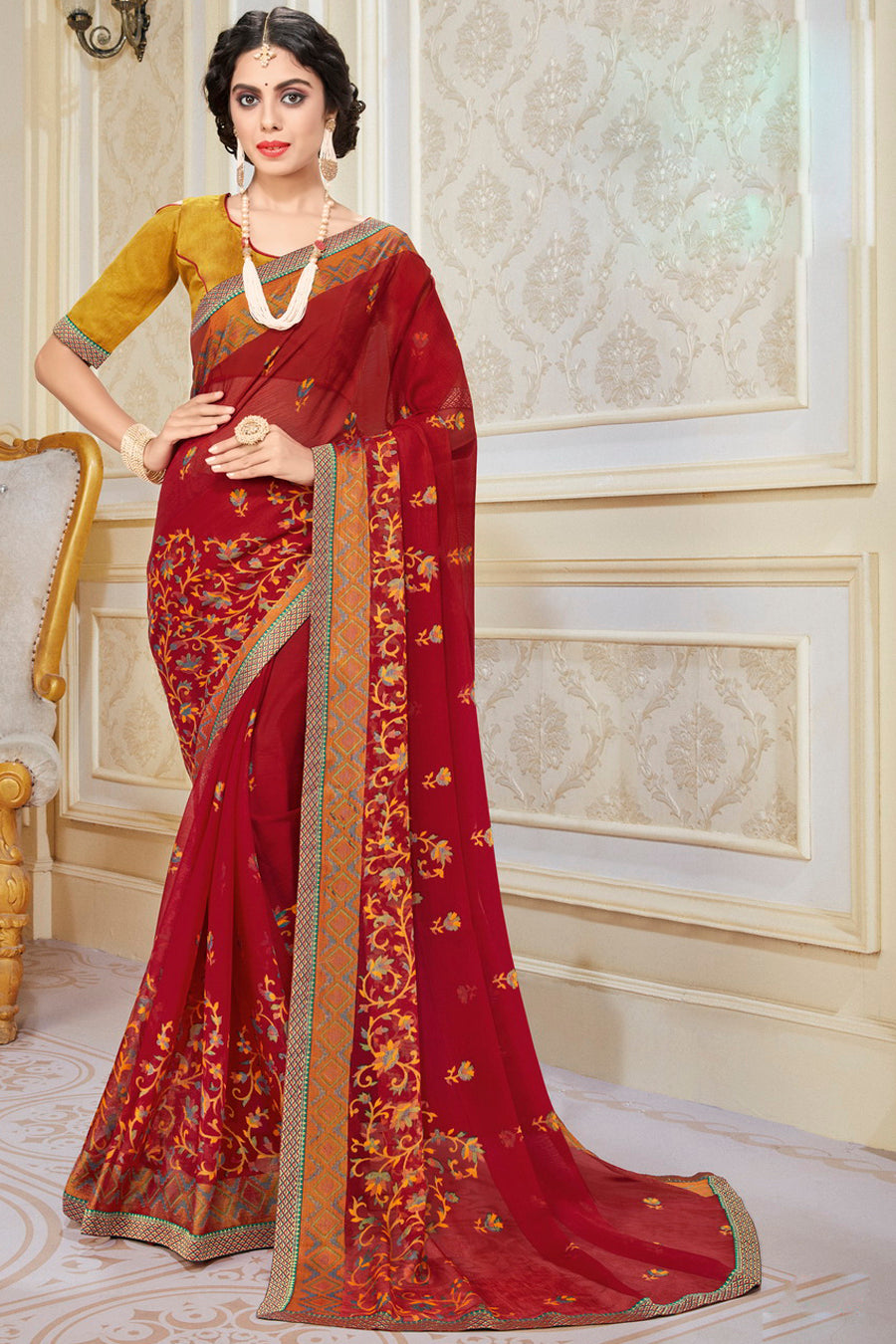 Red Color Chiffon Brasso Radiant Party Wear Sarees NYF-9512