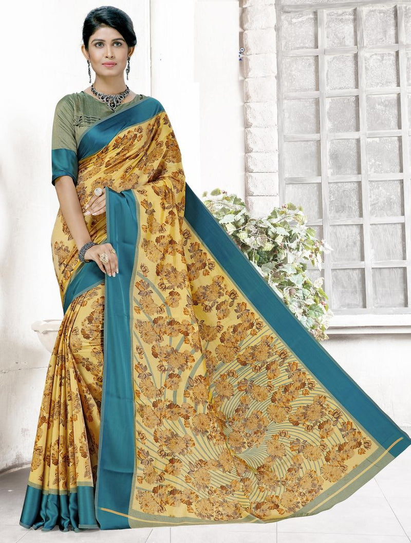 Yellow Color Raw Silk Casual Printed Sarees NYF-3932 - YellowFashion.in