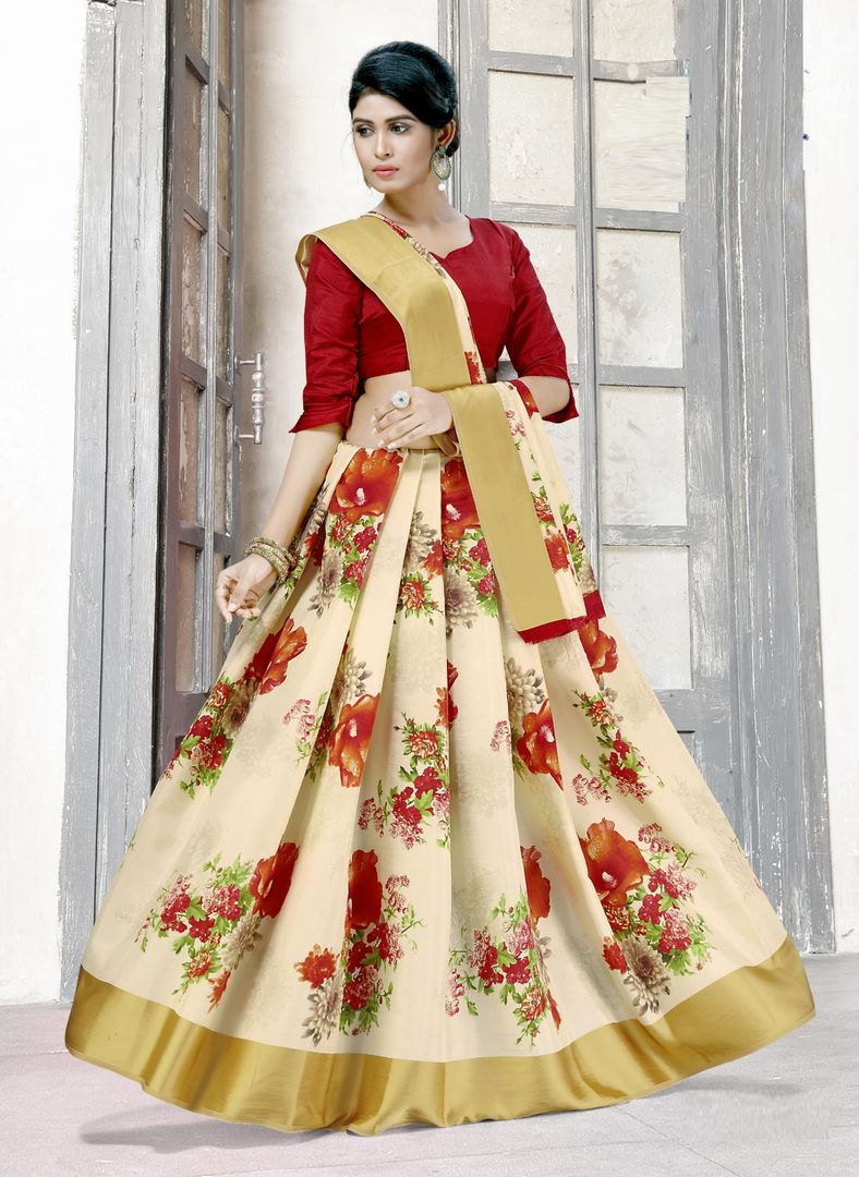 Off White Color Raw Silk Floral Print Sarees NYF-3933 - YellowFashion.in