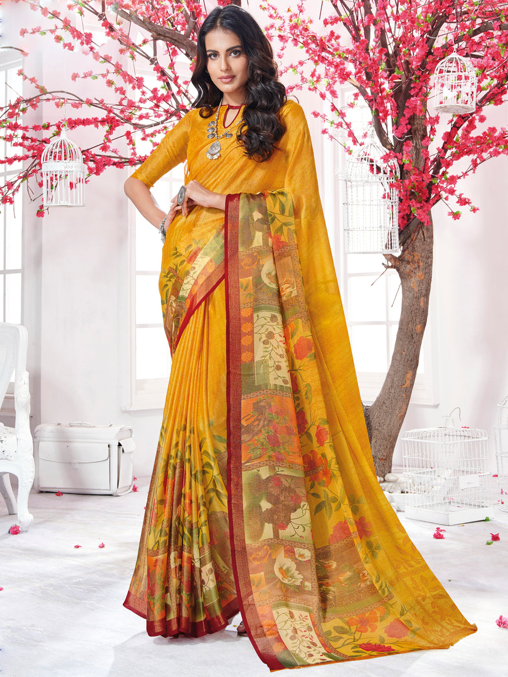 Yellow Color Georgette Daily Wear Sarees NYF-9736