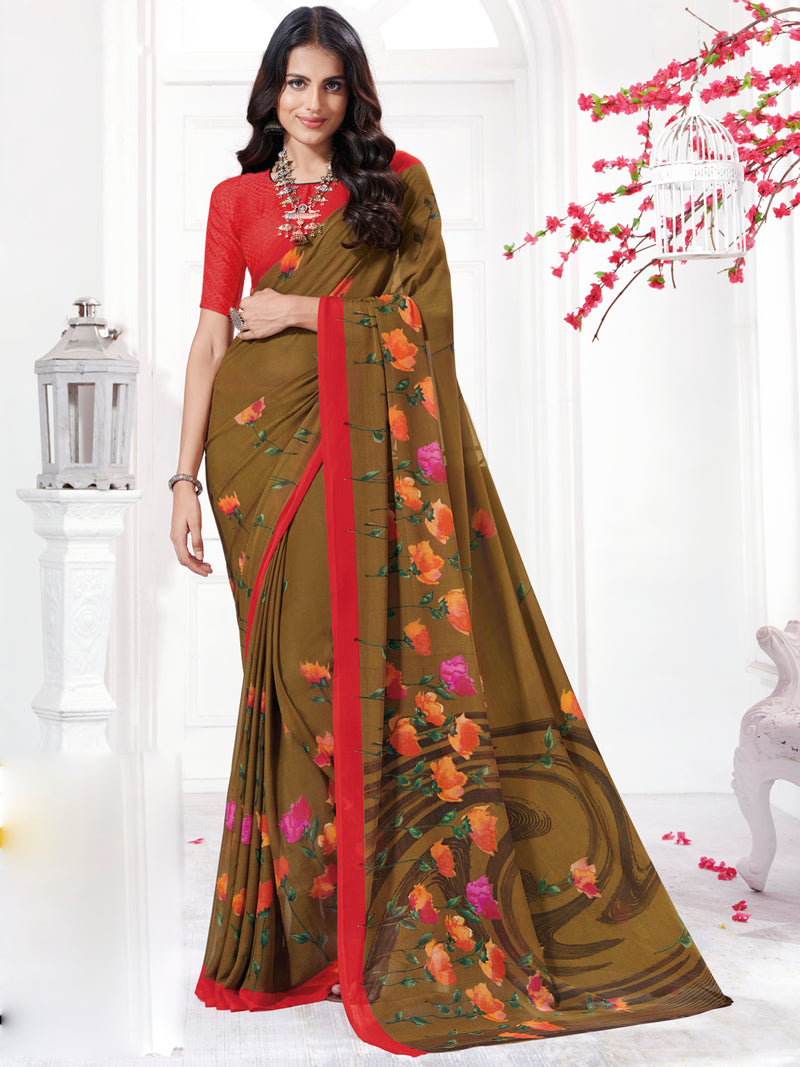 Brown Color Georgette Daily Wear Sarees NYF-9737