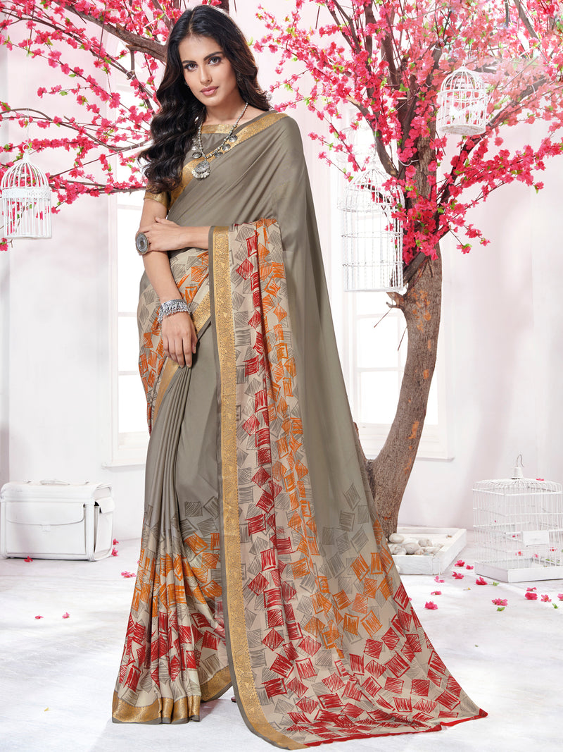 Grey Color Crepe Georgette Daily Wear Sarees NYF-9738