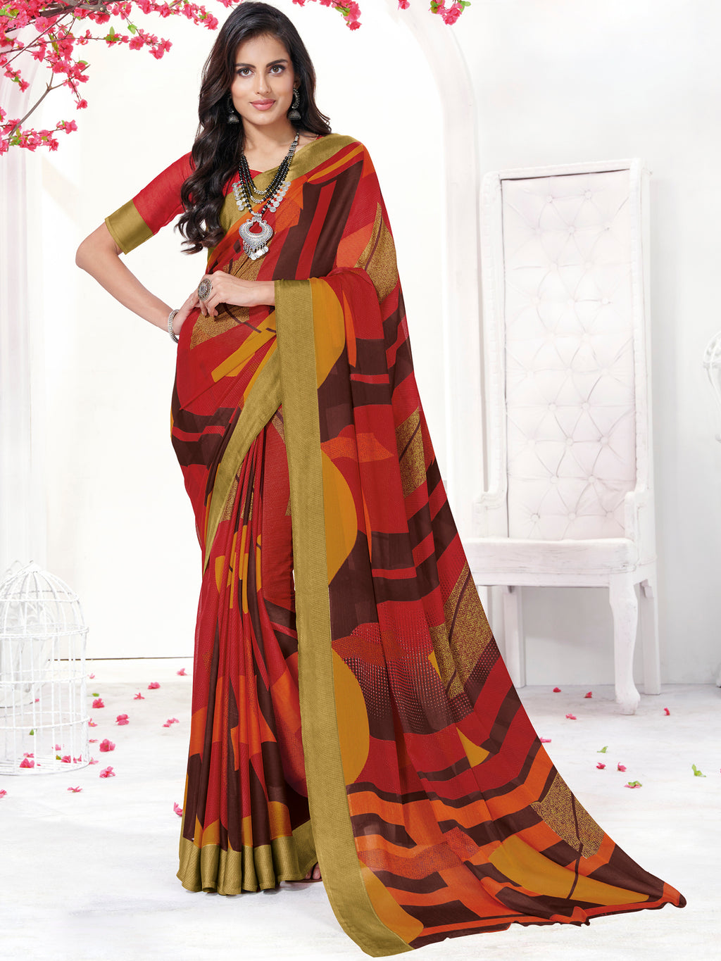 Red Color Georgette Daily Wear Sarees NYF-9739