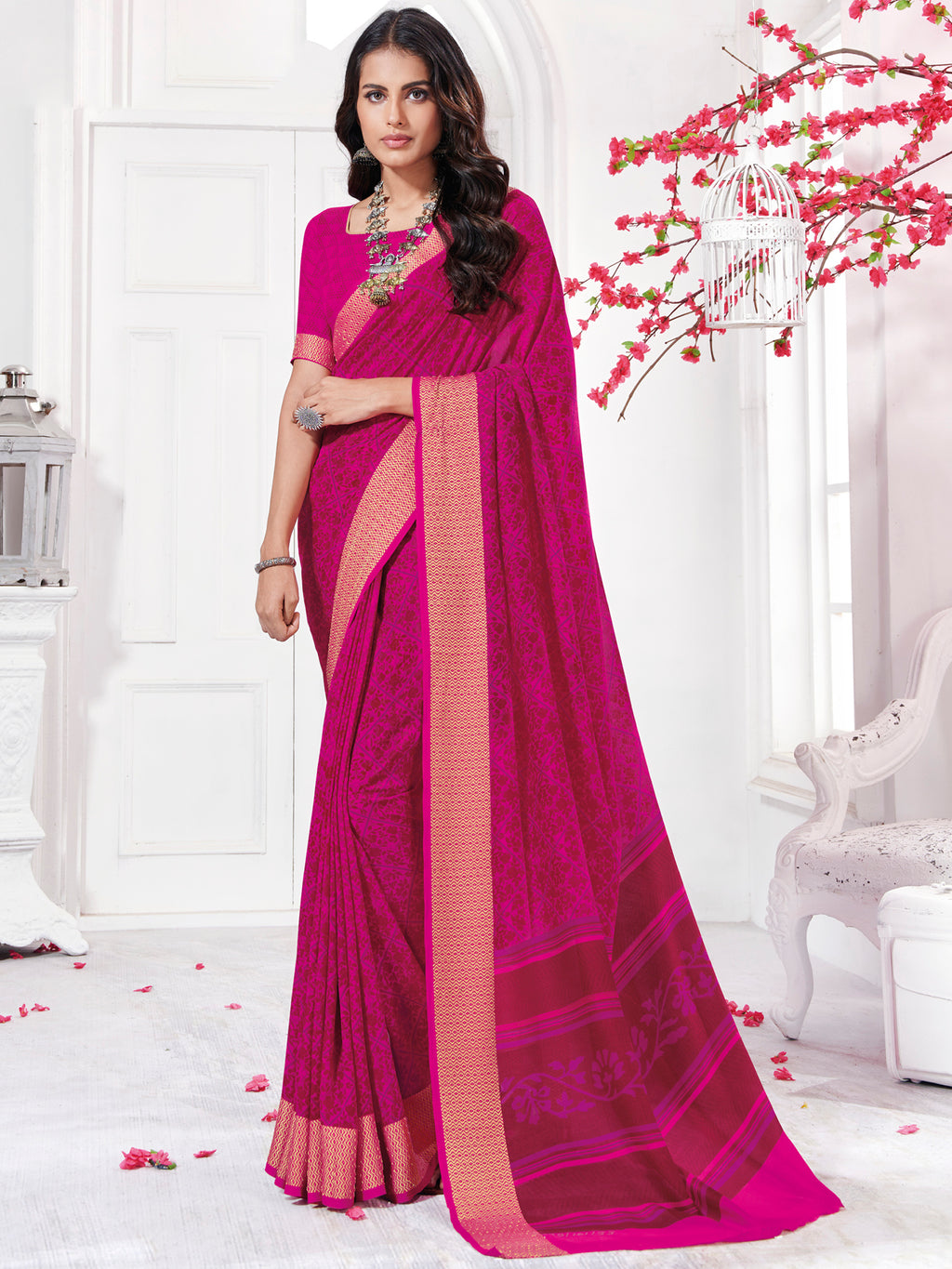 Rani Pink Color Georgette Daily Wear Sarees NYF-9741