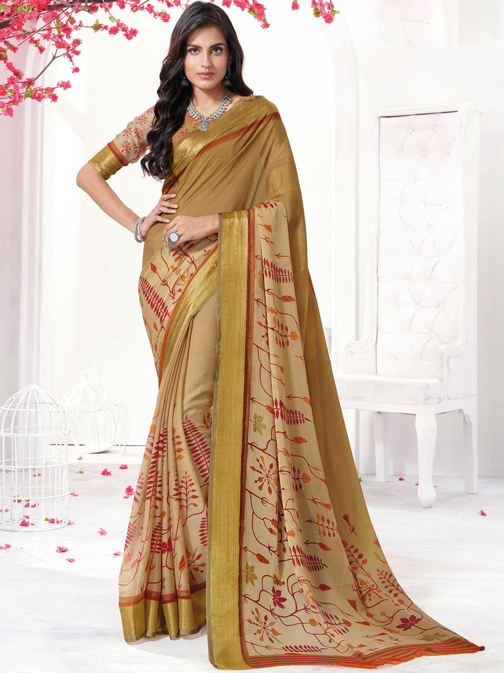 Beige Color Georgette Daily Wear Sarees NYF-9742