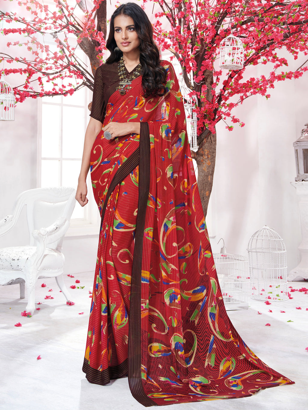 Red Color Georgette Daily Wear Sarees NYF-9743