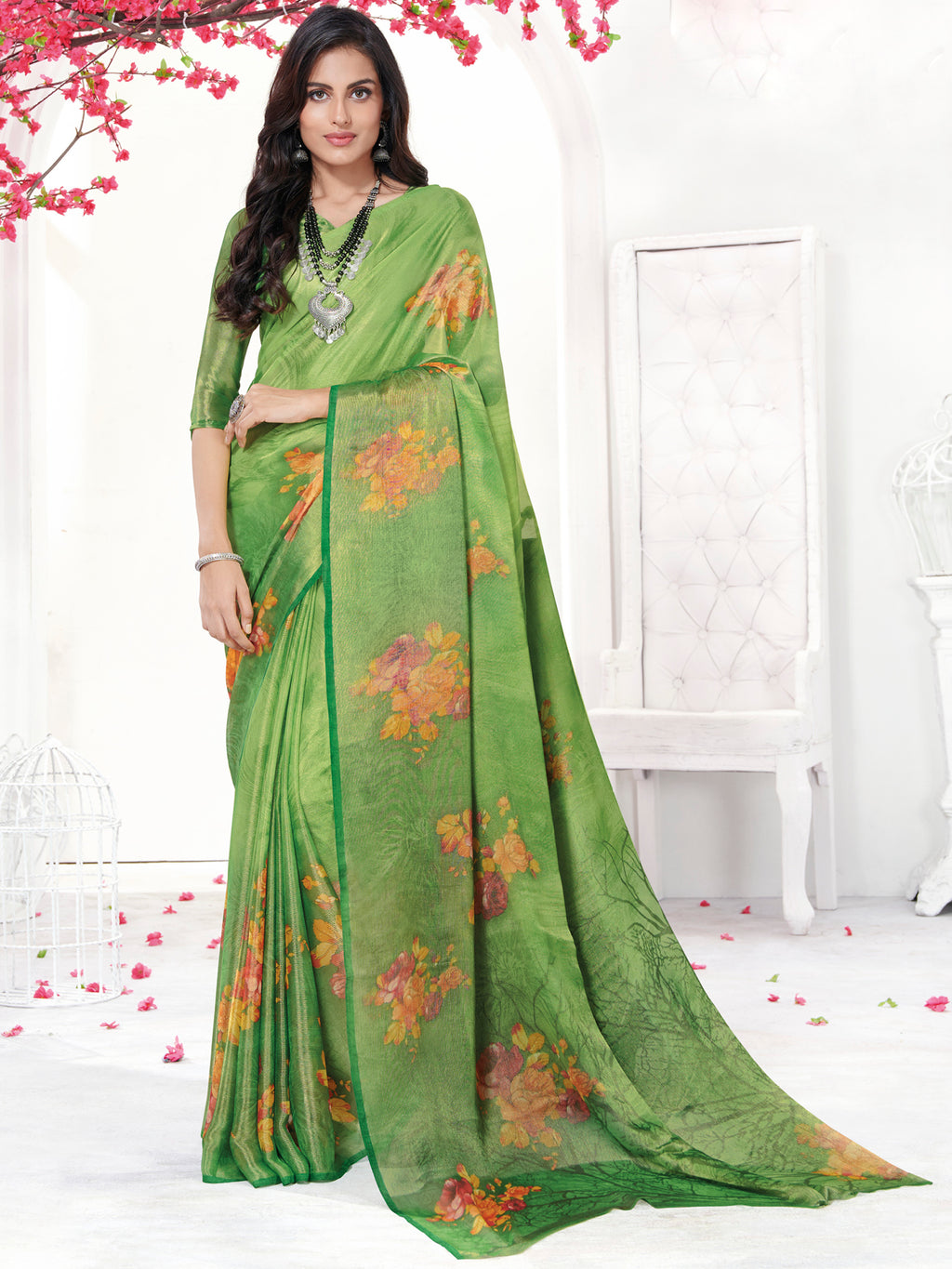 Green Color Georgette Daily Wear Sarees NYF-9744