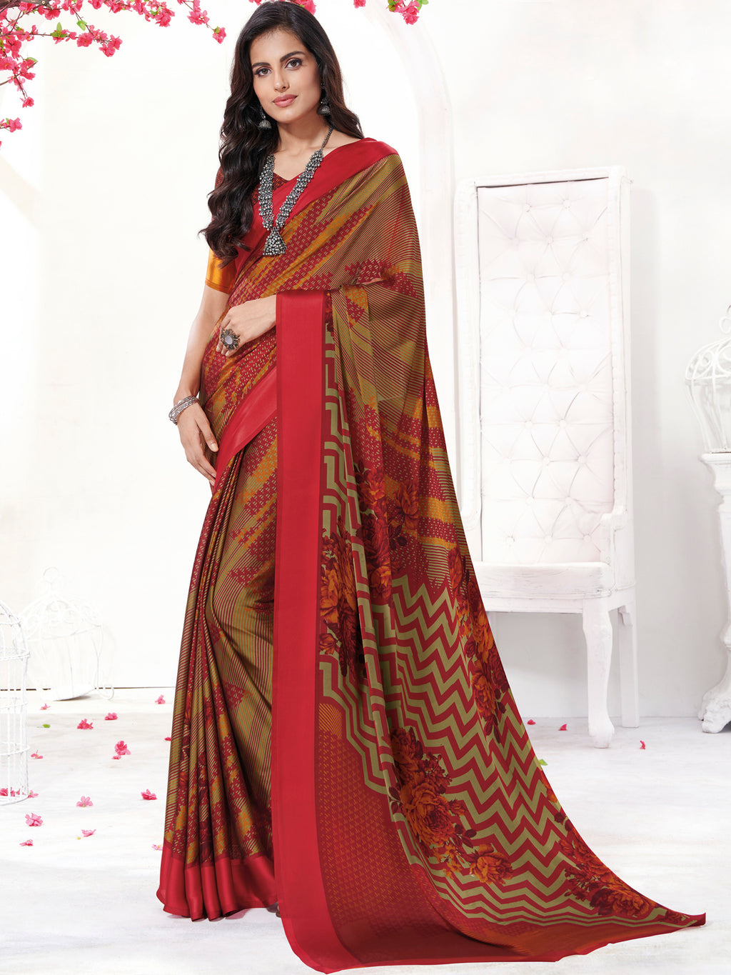 Multi Color Georgette Daily Wear Sarees NYF-9745