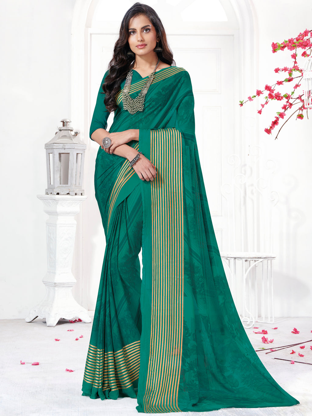 Rama Green Color Georgette Daily Wear Sarees NYF-9746