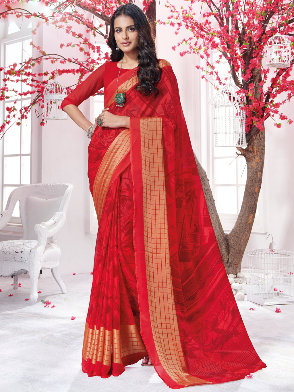 Red Color Georgette Daily Wear Sarees NYF-9747