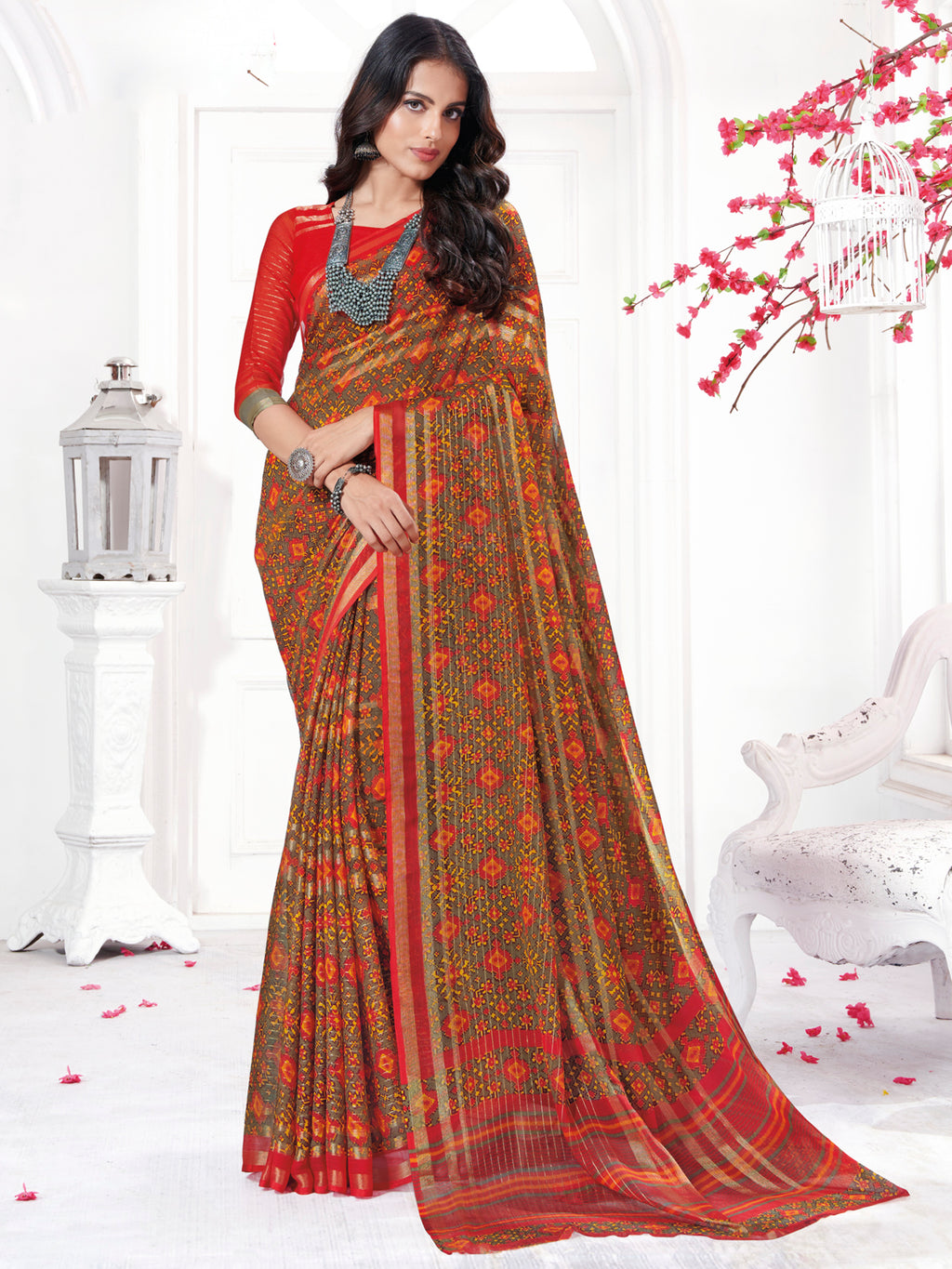 Multi Color Georgette Daily Wear Sarees NYF-9748