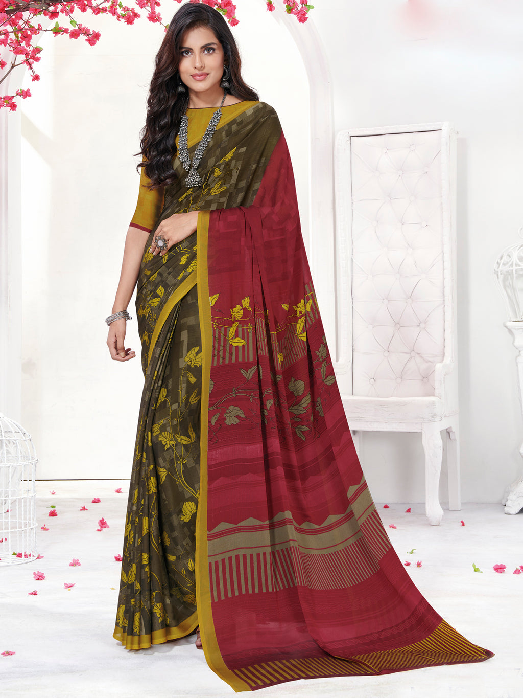 Multi Color Georgette Daily Wear Sarees NYF-9750