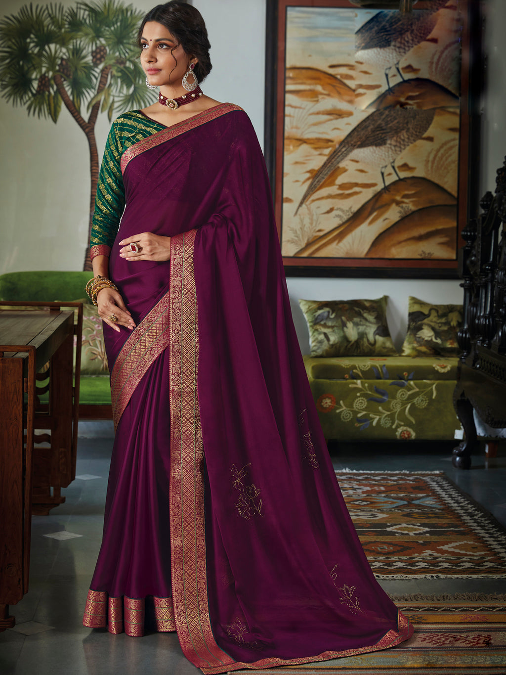 Purple Color Chiffon Festival & Function Wear Sarees NYF-9769