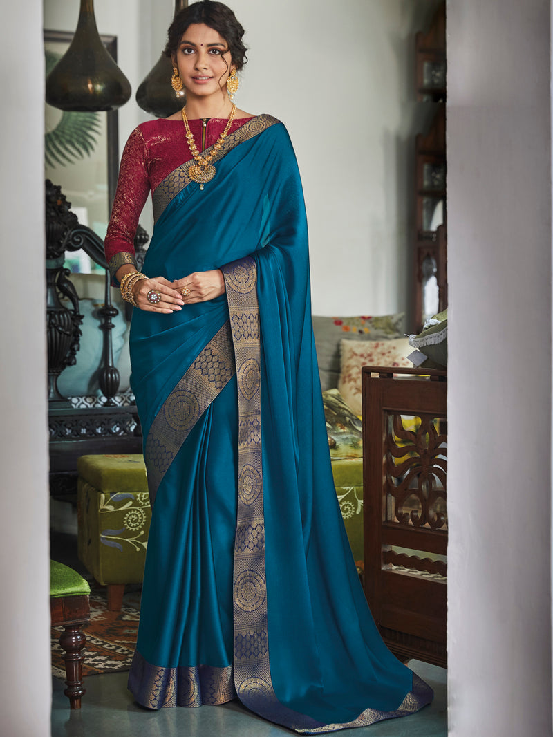 Blue Color Chiffon Festival & Function Wear Sarees NYF-9770