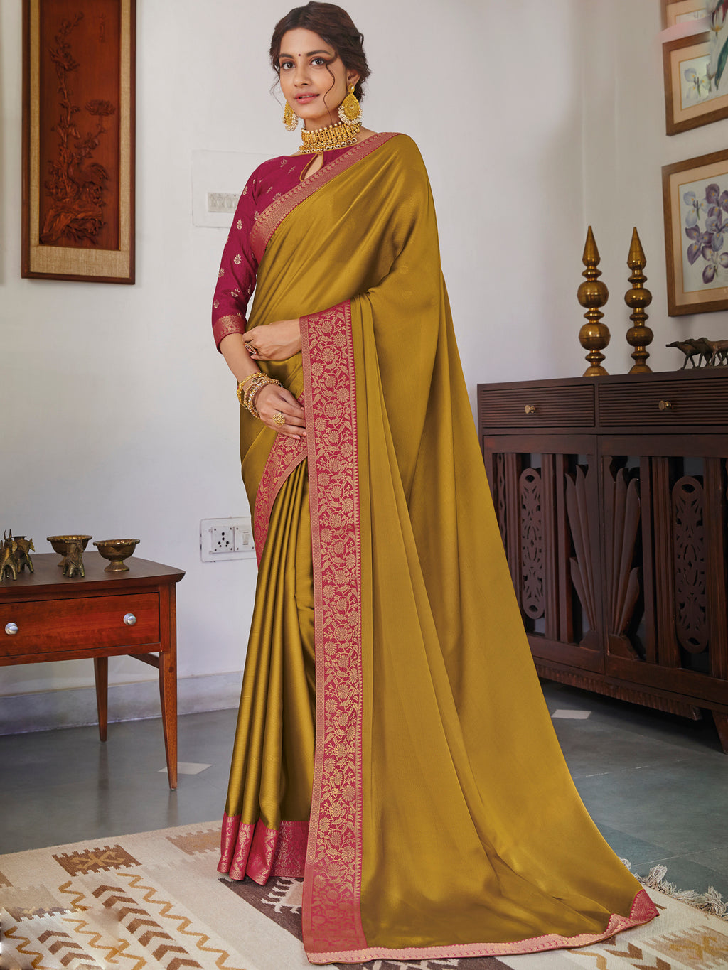 Golden Color Chiffon Festival & Function Wear Sarees NYF-9771