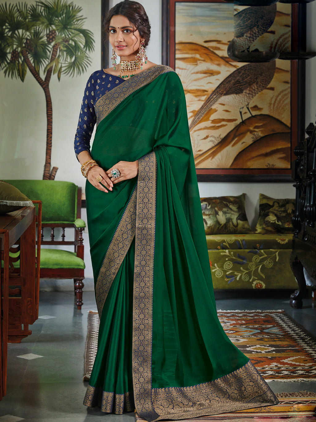 Green Color Chiffon Festival & Function Wear Sarees NYF-9772