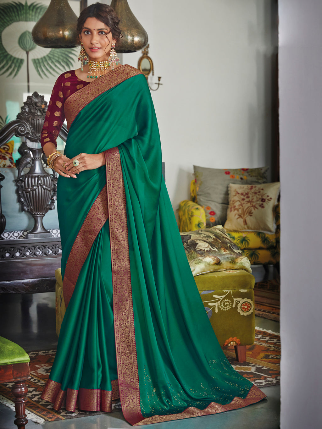 Green Color Chiffon Festival & Function Wear Sarees NYF-9774