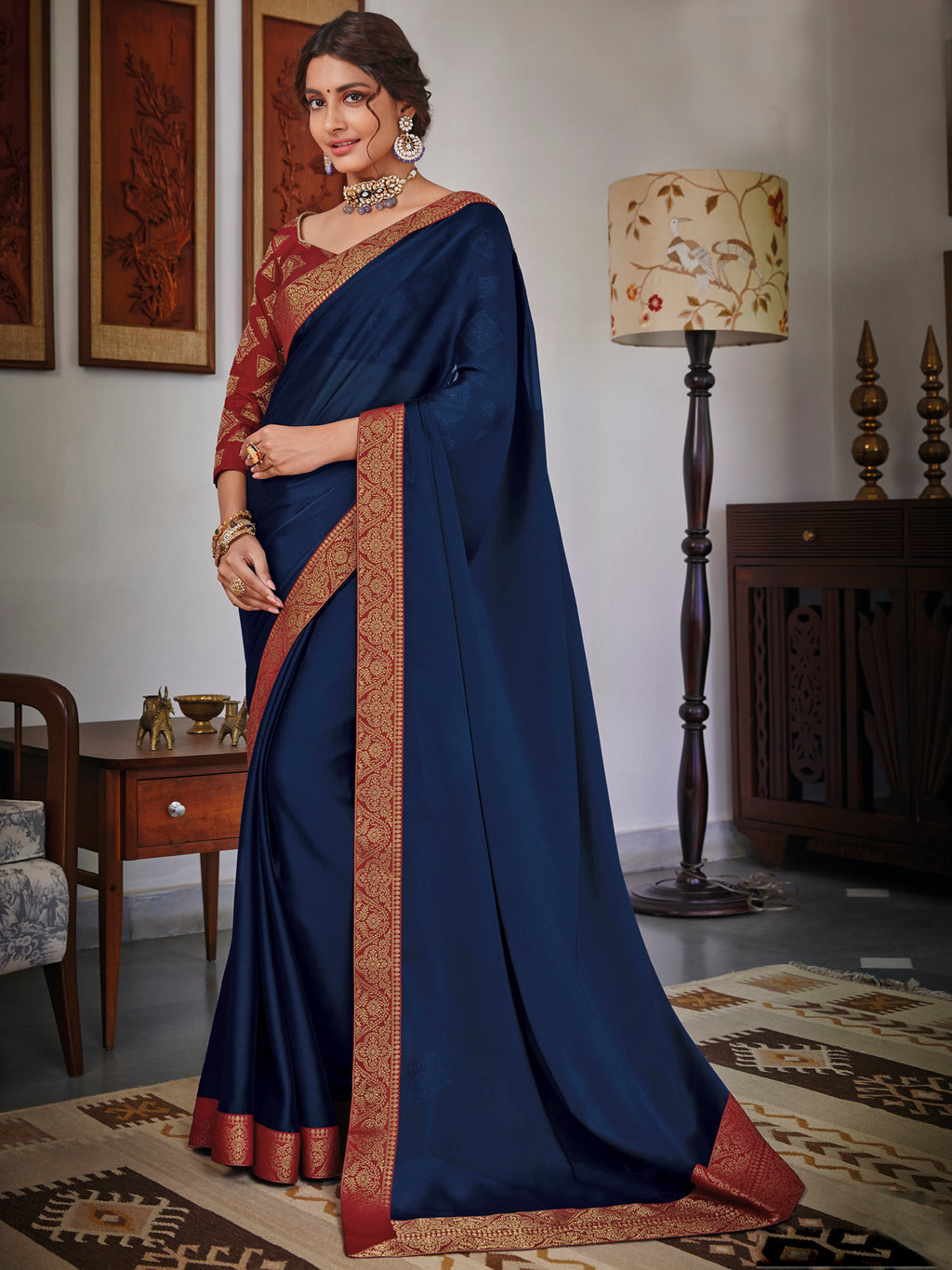 Blue Color Chiffon Festival & Function Wear Sarees NYF-9776