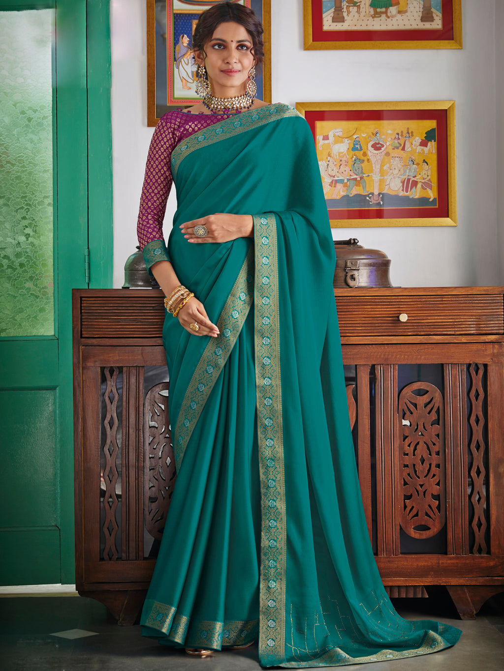 Aqua Blue Color Chiffon Festival & Function Wear Sarees NYF-9778