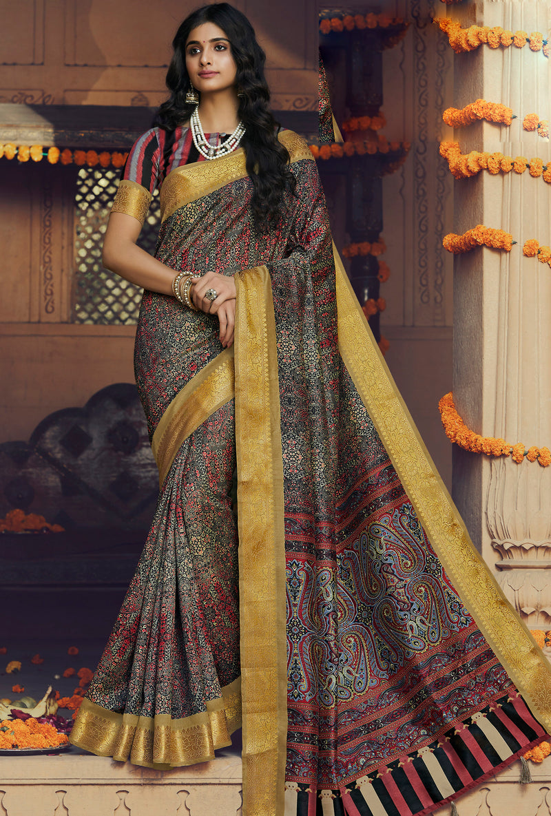 Black Color Art silk Festival & Function Wear Sarees NYF-9514
