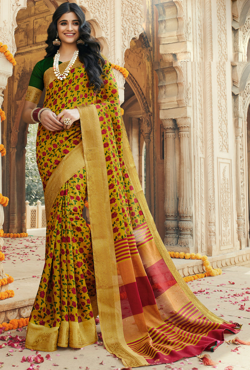 Yellow Color Art silk Festival & Function Wear Sarees NYF-9516